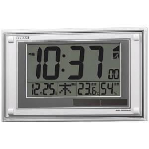 シチズン 電波掛け置き兼用時計 8RZ189-003 カレンダー 温度 湿度 ソーラー電源 白 ホワイト デジタル