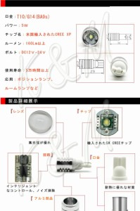 K&M NISSAN リーフ H22.12〜 -(ナンバー灯) 【T10】2個入り ☆CREE LED 5W 送料無料 1ヶ月保証 メール便