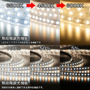 LEDテープライト LED テープ 20m 防水 調色可能 調光可能 リモコン操作 100V wifi 2.4g ダプター SMD3528 LEDテープライト 正面発光 間接