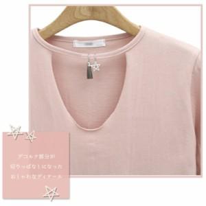 大きいサイズ レディース チョーカーTシャツ 半袖Tシャツ アクセサリー 無地/2488653