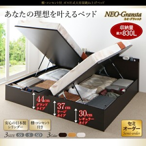 組立設置 跳ね上げベッド NEO-Gransta 薄型プレミアムボンネルコイルマットレス付き 縦開き セミシングル グランド