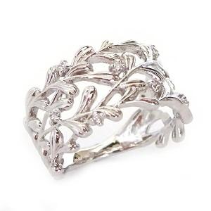 プラチナ リング ダイヤモンド 幅広 透かし ピンキーリング Pt900