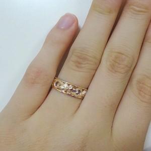ハワイアンジュエリー 指輪 ピンクゴールド K18 リング K18pg プルメリア スクロール フリーサイズ 透かし