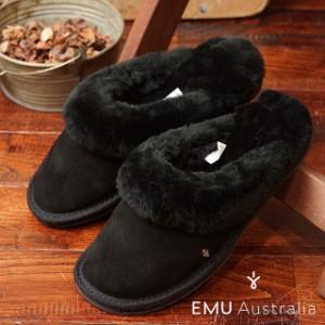 エミュー ジョリー EMU レディース シープスキン スリッパサンダル Jolie ブラック (W10015 FW16)
