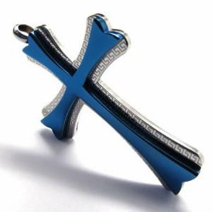 シャイニングスターアックスクロス ブルー 青色 十字架 ロザリオ サージカルステンレス316L ネックレス パーツ メンズ レディース トップ