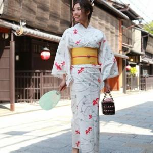 浴衣 セット レディース レトロ 高級変わり織り綿麻浴衣3点セット「生成り地に赤い金魚と水草・波紋」