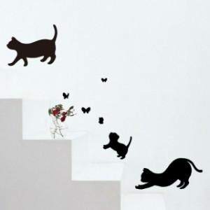 ウォールステッカー インテリアステッカー おしゃれ モノトーン 動物 猫 雑貨 小物 グッズ ねこ ネコ 猫柄 猫雑貨 猫グッズ かわいい