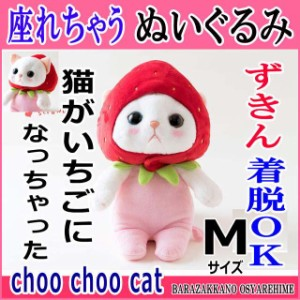 ぬいぐるみ 猫 いちごコスチューム 白猫 Mサイズ フルーツ猫 choochoo本舗 チューチュー本舗 ねこ ネコグッズ プチギフト