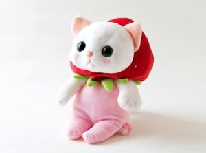 ぬいぐるみ 猫 いちごコスチューム 白猫 Mサイズ フルーツ猫 choochoo本舗 チューチュー本舗 ねこ ネコグッズ【父の日】