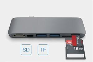 【送料無料】 Type-C to HDMI カードリーダー 6in1 USBハブ Type-C Hub 高速USB 3.0ポート / USB-C 充電ポート / SD / TFカードリーダー
