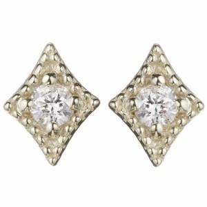 送料無料 スタッドピアス K10 ダイヤモンド0.02ct×2 ダイヤモチーフ ひし形 レディース 激安 1color