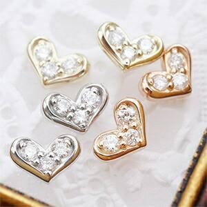送料無料 スタッドピアス K10 ダイヤモンド0.01ct×2 パヴェハートモチーフ 大人ハート レディース 激安 3color