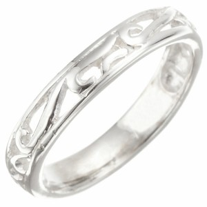 リング 指輪 シルバー925製 スタンダード ピンキー 透かし柄 艶やかシルバー ラウンドシェイプ 和風彫デザイン