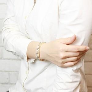 スワロフスキーきらきら3列ブレスレット 伸縮自在で腕にぴったりフィット シルバーとゴールドをご用意