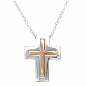 9way キュービックジルコニアダブルクロスネックレス シルバー925製 十字架 ピンクゴールド レディース プレゼント用にも