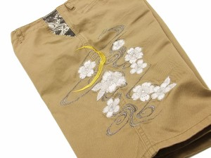 絡繰魂 チノショーツ 桜刺繍 メンズ 和柄 ショートパンツ 232259 カーキ 新品