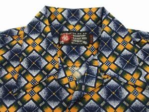 MWS オープンシャツ 80's 幾何学模様 メンズ 半袖シャツ 1514002 #77ネイビー 新品