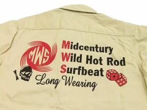 MWS ワークシャツ ヘリンボーン MWS定番柄 メンズ 半袖シャツ 1513005 ベージュ 新品