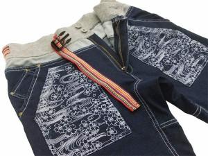 錦 スウェットリブショーツ 和柄 桜柄 メンズ ショートパンツ 55101 インディゴ 新品