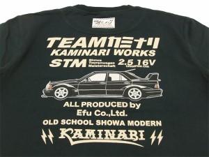 カミナリ Tシャツ KMT-117 ベンツ 旧車柄 エフ商会 メンズ 半袖tee ブラック 新品