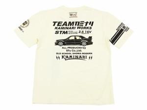 カミナリ Tシャツ KMT-117 ベンツ 旧車柄 エフ商会 メンズ 半袖tee オフ白 新品