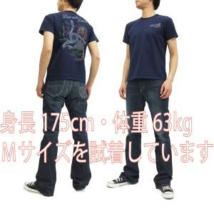サムライジーンズ Tシャツ SJST16-102 京都 大阪 神戸 Samurai Jeans メンズ 半袖tee ネイビー 新品