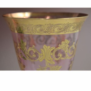 イタリア製 ワイングラス ペア ピンク ( 2点セット おしゃれ ハンドメイド アンティーク ヨーロッパ インテリア 輸入雑貨 ガラス )