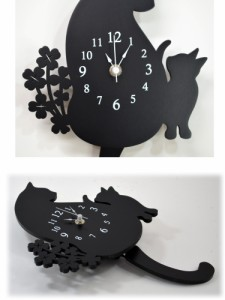 壁掛け時計 四葉のクローバー ブラック 猫 ( 振り子時計 掛け時計 黒猫 クロック おしゃれ 壁掛時計 猫グッズ 猫雑貨 猫柄 クロネコ 木製