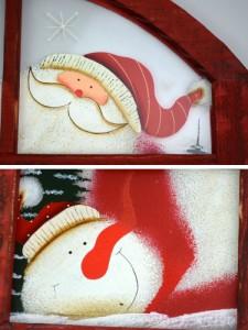 壁掛け ボード ウィンドウ横 アーチ型 サンタ 木製 クリスマスグッズ ( ガラス 絵柄 クリスマス 額絵 雪だるま サンタクロース ディスプ