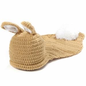 ベビー用 コスチューム コスプレ衣装 ウサギ 耳付き シッポ ポンポン ボンボン 寝相アート ニット帽 帽子