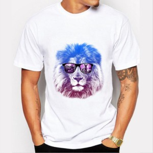 Tシャツ メンズ 大きいサイズ有 カットソー 半袖 クルーネック ライオン プリント グラデーション トップス カジュアル S