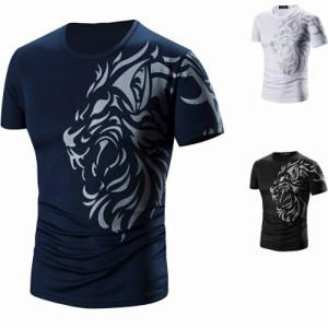 Tシャツ メンズ 半袖 大きいサイズ有 クルーネック カットソー プリント ライオン カジュアル トップス 速乾性 おし