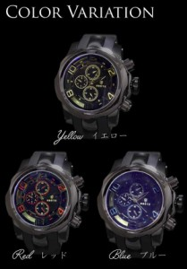《ケース付》腕時計 ブラックメタル&ラバー 3D ブラック ウォッチ 男性用