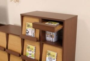 コミックディスプレイラック3段 COR-3 リバーシブル 木製 コミック収納 本収納 本棚 ディスプレイラック マンガ収納(代引不可)【送料無料
