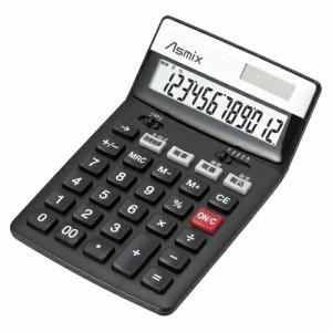 アスカ 消費税電卓 チルト 12桁 ブラック C1236BK 1台