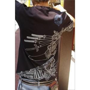 戦国武将Tシャツ 【加藤清正】 Mサイズ 半袖 綿100% ブラック(黒) 〔Uネック おもしろ〕