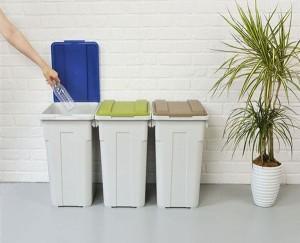 新輝合成 連結 カラー フタ付 分別 ペール 70L つながる ゴミ箱 グリーン