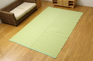 洗える PPカーペット 『バルカン』 グリーン 江戸間6畳(約261×352cm)(代引不可)【送料無料】