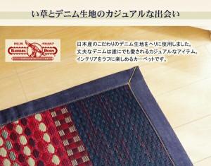 純国産 エスニック調 い草ラグカーペット『DXデニムラルフ』 ブルー 191×250cm