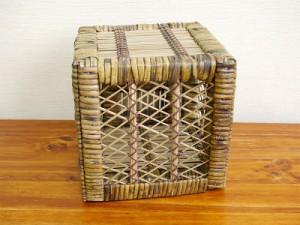ラタン×ブリ・キュービックシェルフ (サイズS・扉あり)アジアン アジアン家具 バリ バリ家具(代引き不可)