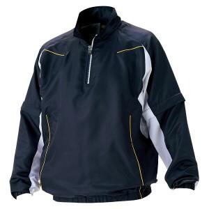 ZETT(ゼット) 野球 長袖/半袖切り替え式ハーフジップジャンパー BOV515 2911 ネイビー×ホワイト L