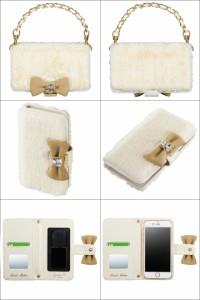 セシルマクビー CECIL McBEE×Girls 全機種対応 スマホケースホワイトファーSMC-GIC05iPhone Xperia Galaxy カバー 手帳型