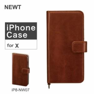 ニュート NEWT iPhoneXケース イタリアンソフトレザー iP8-NW07 ブラウン アイフォン スマホケース 手帳型 カード収納