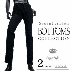 デニムパンツ 黒スキニー ダメージ加工 ジーパン カジュアル メンズ V290606-02