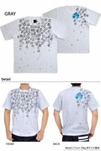 手描き半袖Tシャツ 西行桜満月 碧 和柄 和風 送料無料 あお 京都 職人 手書き