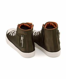 ハイカット スニーカー 女の子 キッズ 子供靴 サイドジップ アプリズム aprizm 6814 カーキ