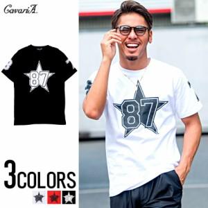 SALE CavariA キャバリア ビッグスター ナンバー プリント クルーネック 半袖 Tシャツ 全3色 メンズ ナンバリング スター 星柄 ビター系