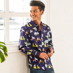 CavariA キャバリア 国産 フレンチブルドック柄 長袖マルチシャツ 全2色 シャツ メンズ 長袖 トップス 日本製 柄シャツ hq
