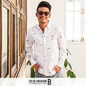 CavariA キャバリア 国産 ヴィンテージカー フラミンゴ刺繍 長袖シャツ 全2色 シャツ メンズ トップス 長袖 車柄 総柄 フラミンゴ hq