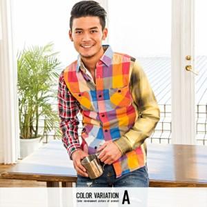 CavariA キャバリア リメイクチェック柄長袖ネルシャツ 全6色 シャツ メンズ トップス 長袖 リメイク 切り替え カジュアル チェック hq